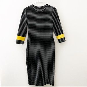 Zara | Striped 3/4 Sleeve Midi Dress Crew Neck